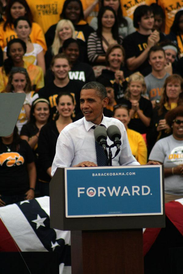 President Obama addresses a crowd of 8,000 on the University of Iowa Campus on September, 7 2012.