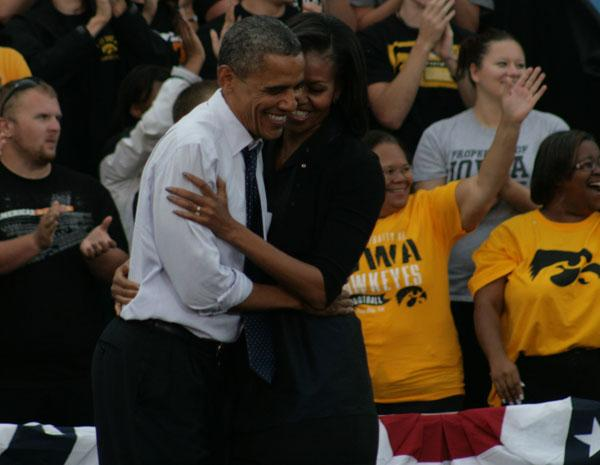 President Obama was joined by First Lady Michelle Obama, however she did not address the crowd.