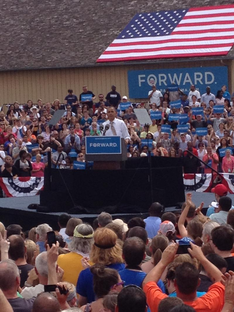 President Obama addressed an open-air crowd of about 10,000 people at Living History Farms near Des Moines.