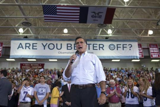 Mitt Romney speaks at Northwestern College in Orange City Iowa on Friday September 7.