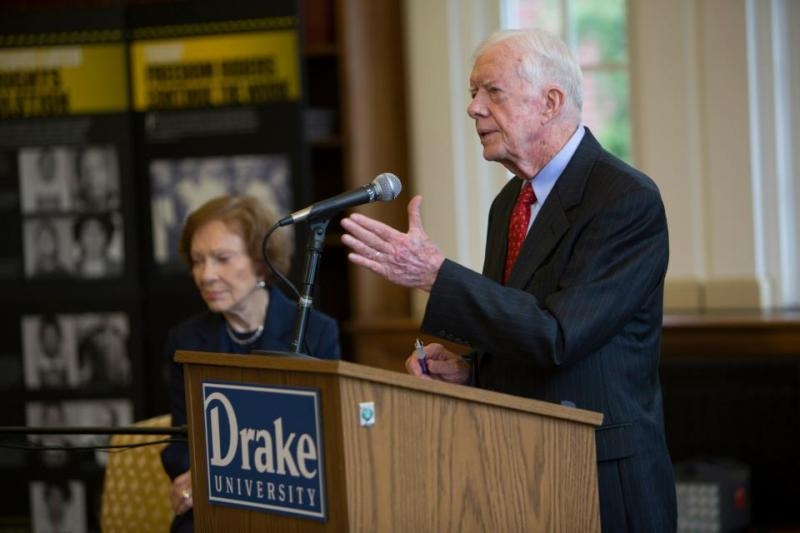 Former President Jimmy Carter and his wife, Rosalynn, spoke to students at Drake University in Des Moines Thursday.