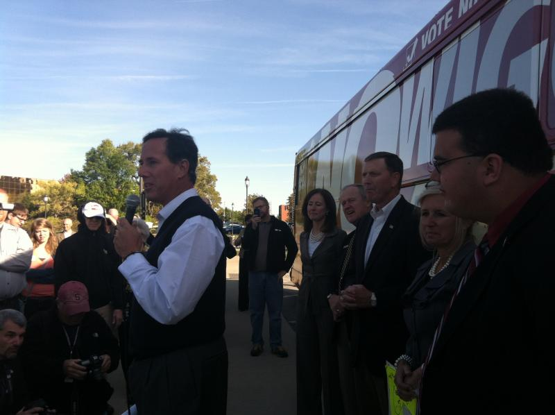 Former Republican Candidate Rick Santorum of Pennslyvania before the start of a bus tour directed at ousting Iowa Supreme Court Justice David Wiggins.