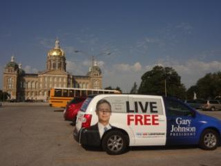 A campaign vehicle for Libertarian Gary Johnson was parked outside the Iowa State Capitol. Johnson will be on the Iowa ballot after surviving a challenge to his candidacy by supporters of Republican nominee Mitt Romney.