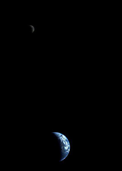 Image of Earth and Moon captured by Voyager 1.