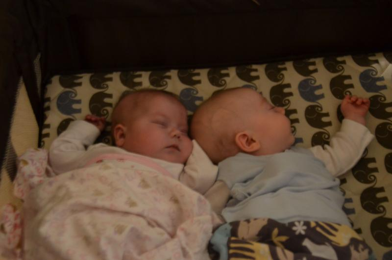 Here are the twins just two days shy of four months old. They are in their nursery at their home in Clive