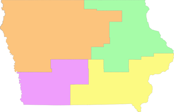 In Iowa there are four congressional districts, which is down from five in the last election.