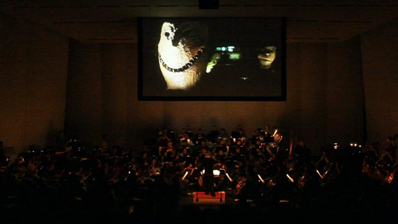 "The Des Moines Symphony performing ""Symphony In Sculpture"" with projected sculpture images by Blur Mediaworks."
