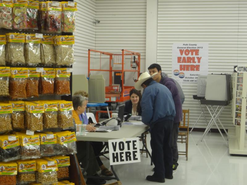 Voters cast their ballot at a satellite spot