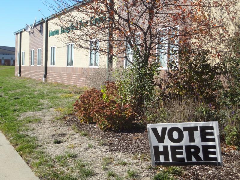 A satellite voting spot at Johnston Evangelical Church