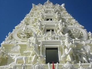 It took Indian artisans three years to carve the figures that cover the Hindu Temple south of Madrid