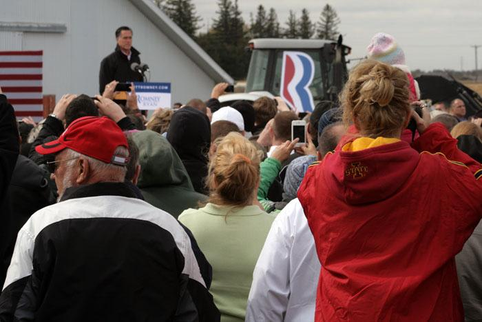 Romney supporters gathered at a farm near Van Meter, Iowa on Tuesday to hear the GOP Presidential candidate.
