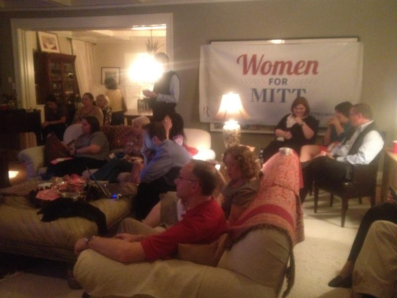 Women for Mitt Romney gather to watch the final debate in Des Moines.