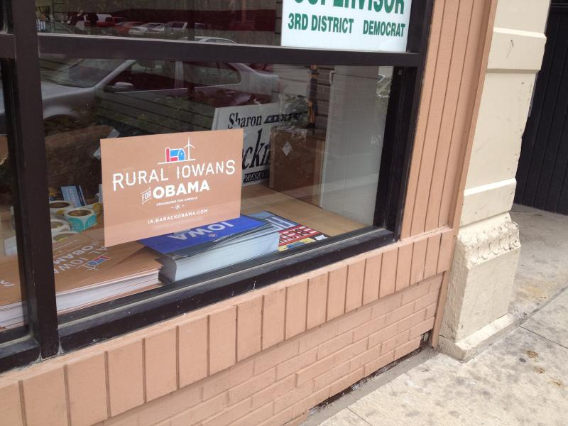 The Obama campaign office in downtown Mason City hosts volunteers, interns, and staffers working on the President's behalf.