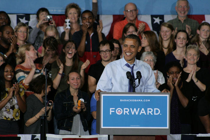President Obama made his first stop after Tuesday night's debate in Mount Vernon, Iowa on the campus of Cornell.