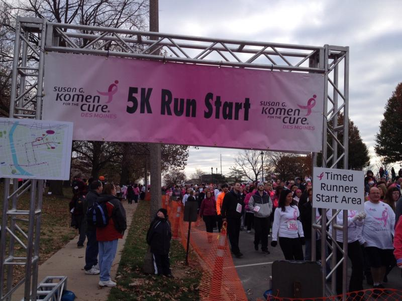 Organizers with the Susan G. Komen Foundation's Iowa affiliate say fundraising has been down this year, but they're hopeful final numbers will show average race participation of around 20,000 registrants.