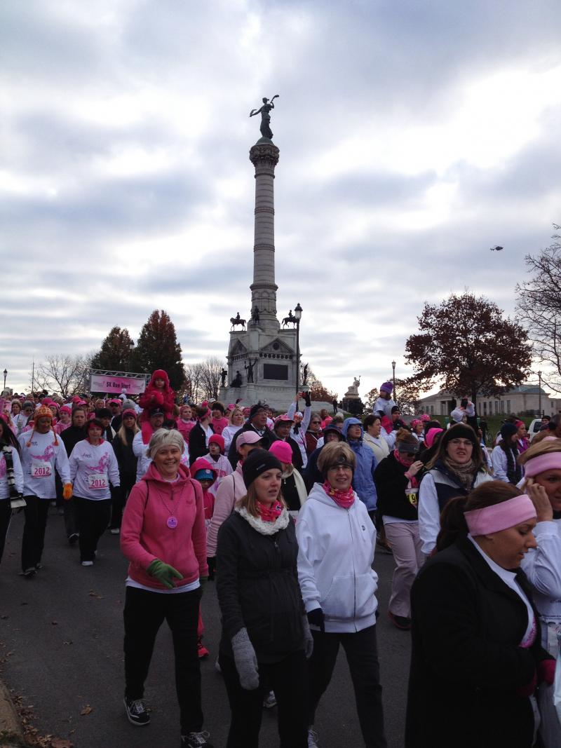 "Thousands of people walked or ran in the 2012 ""Race for the Cure"" in Des Moines."