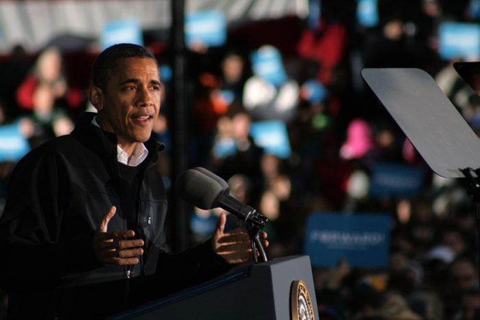 President Obama addresses a crowd of 5,000 at Washington Park in Dubuque, Iowa