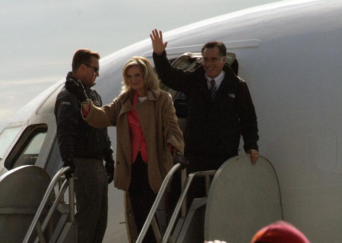 GOP Presidential Candidate Mitt Romney and his wife, Ann, greet more than 2,000 people at the Dubuque Airport