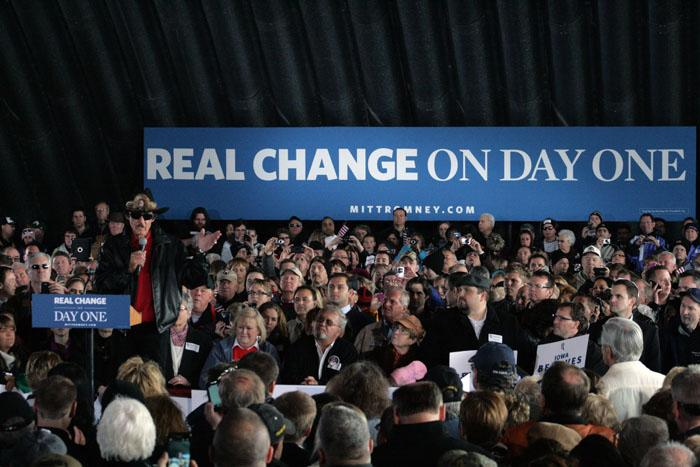 NASCAR Legend Richard Petty warmed up Mitt Romney supporters at an airport hangar in Dubuque