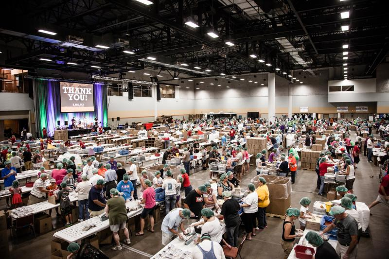 An estimated 15,000 people came through Hy-Vee Hall in Des Moines to package more than 5 million meals over a 4-day period in September 2012.