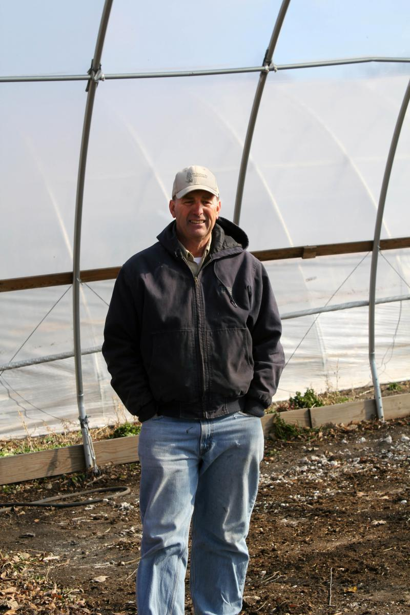 Boone County farmer Greg Rinehart uses a high tunnel for vegetables he sells locally. He also grows row crops.