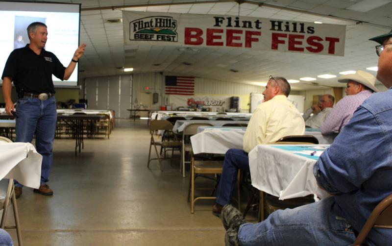"Dr. Dan Thomson, a Kansas State veterinary professor and director of the Beef Cattle Institute, holds a ""Beef Quality Assurance"" training at the Beef Fest in Emporia, Kan., in August."