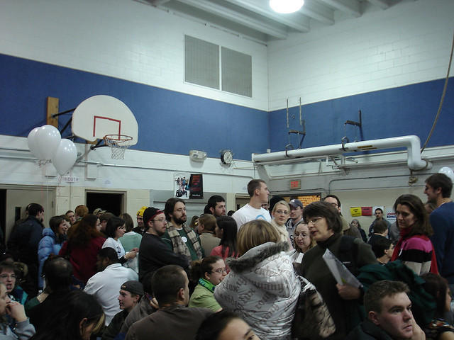 A crowded precinct location in Coralville for the 2008 Iowa caucuses