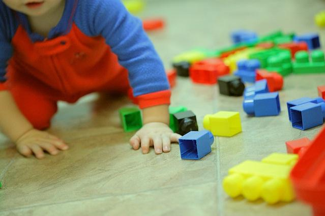 Baby learning with colored stackable blocks