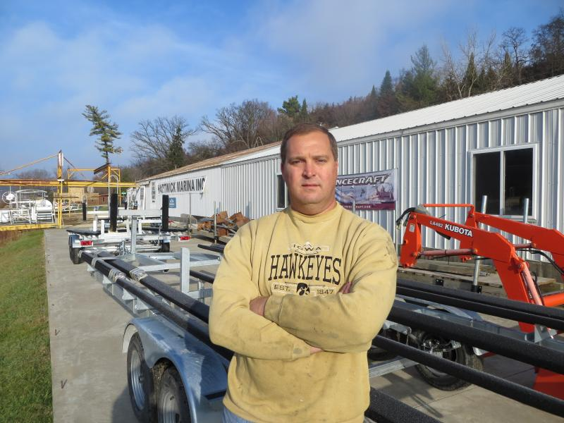 Chris Stender, owner of Hartwick Marina, says business fell by half when Lake Delhi vanished.