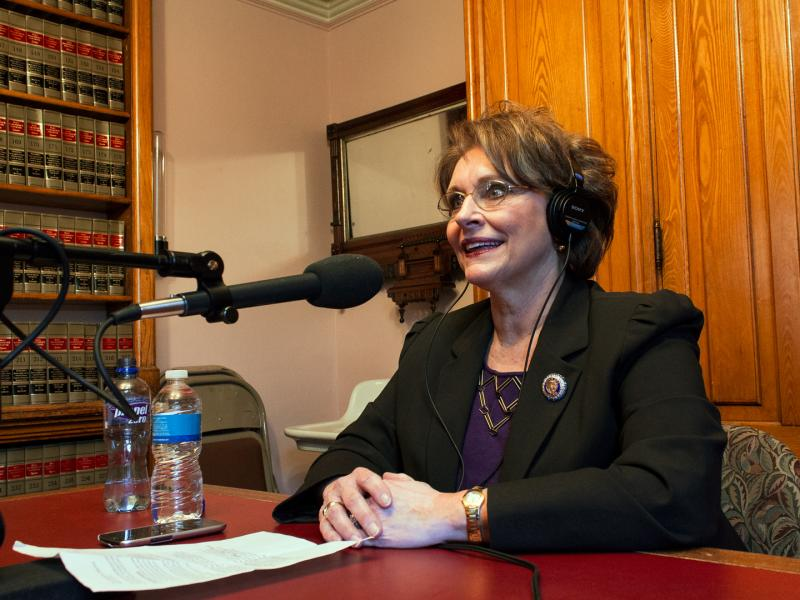 Iowa House Majority Leader Linda Upmeyer (R) is a guest on River to River in the Capitol's law library.