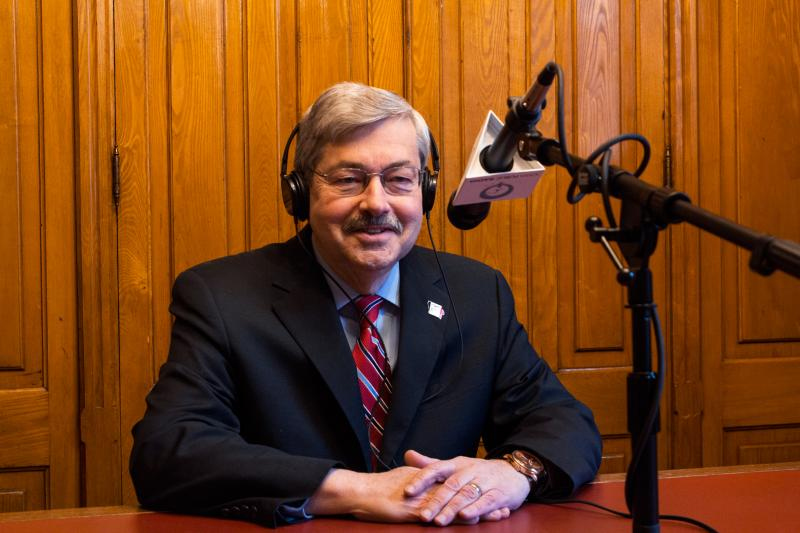 Governor Terry Branstad in the Capitol's Law Library during Iowa Public Radio's talk show River to River.