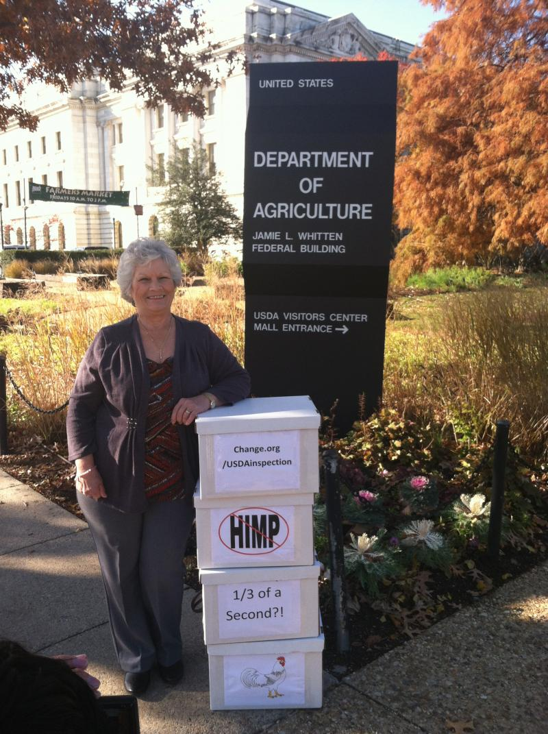 Retired USDA chicken inspector Phyllis McKelvey worked with Change.org and Whistleblower.org to gather signatures on a petition opposing the proposed new poultry slaughter rule. She delivered over 177,000 signatures to the USDA office in Washington.