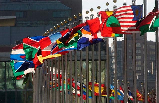 Nations' flags outside the United Nations building in New York.