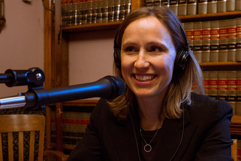 Megan Tooker is the director and legal counsel for the Iowa Ethics and Campaign Disclosure Board.  She is in the Capitol's law library as a guest for Iowa Public Radio's talk show River to River.