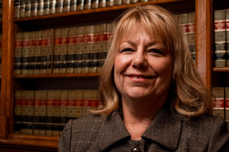 State Senator Pam Jochum (D-Dubuque) at the Capitol's law library.  Jochum is the floor manager of a bill that would expand Medicaid.