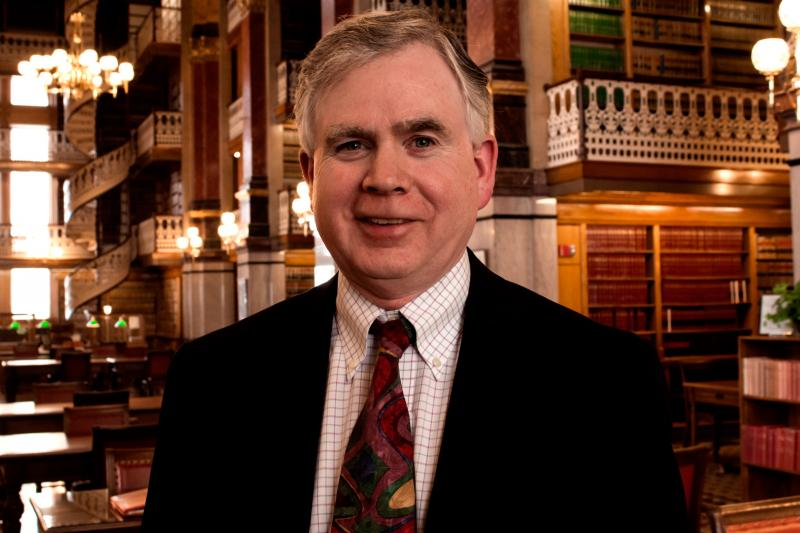 Mark Bowden, Executive Director of the Iowa Board of Medicine in the Captiol's Law Library
