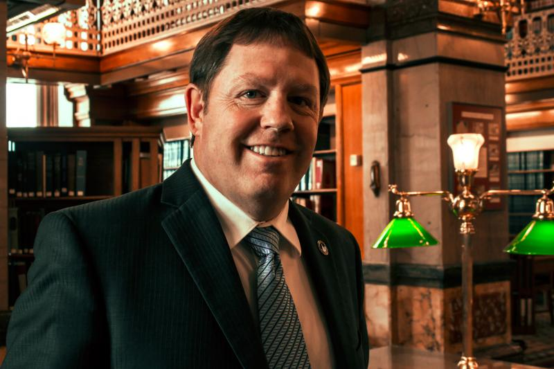 Senator Tod Bowman in the Law Library of the Iowa Capitol