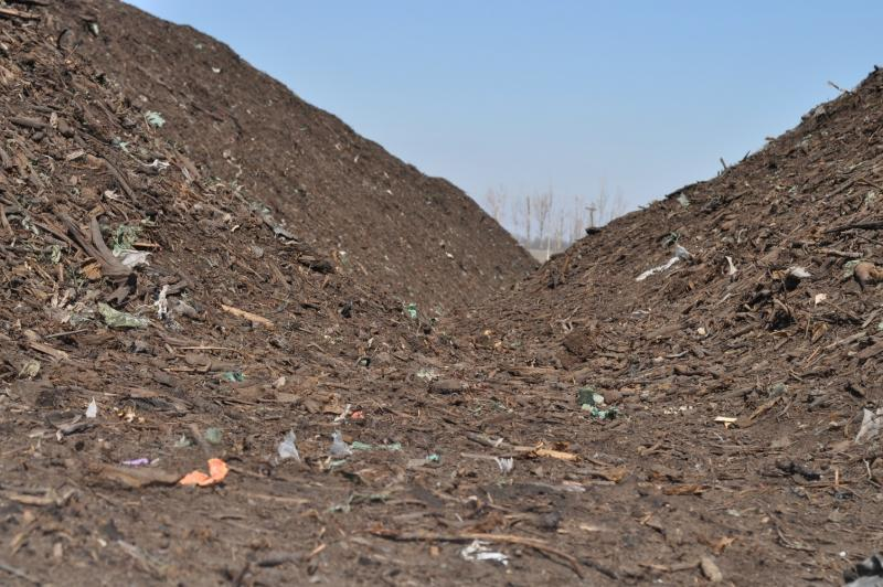 Compost piles sit at the Iowa City Landfill in late March.