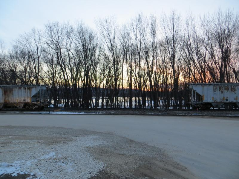 A rail yard in Prairie du Chien, Wisconsin is the transfer point for some of the sand trucked across the Mississippi River from Pattison Sand Company in Clayton County, Iowa.