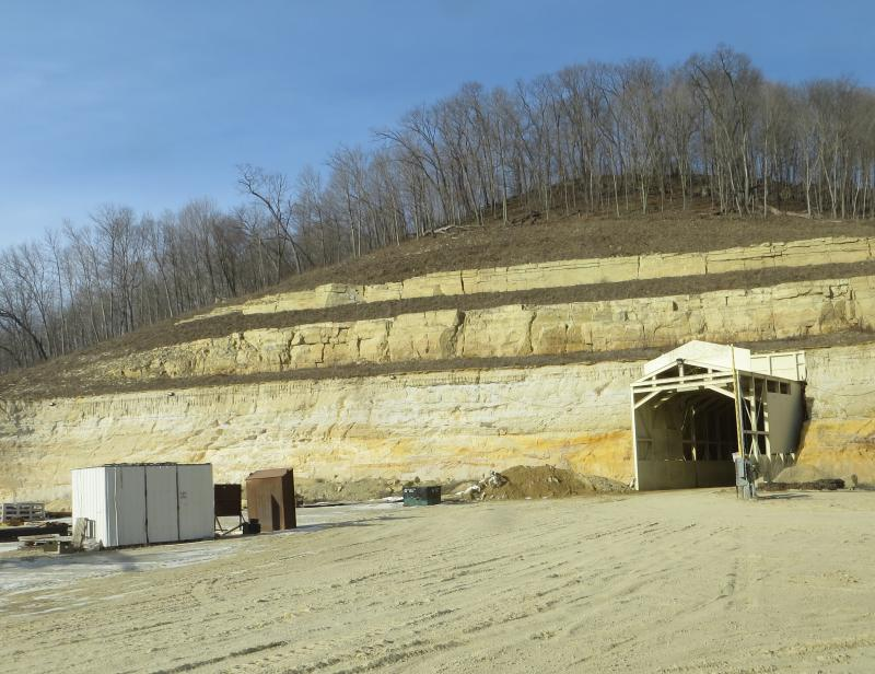 The sand mined at Pattison comes from a rock layer called the St. Peter sandstone, found in many of northeast Iowa's hills.