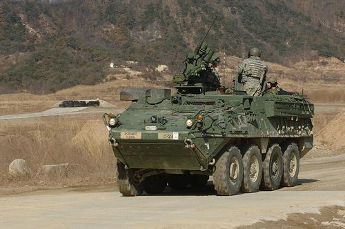 U.S. Army armored vehicle in South Korea, Feb. 2008