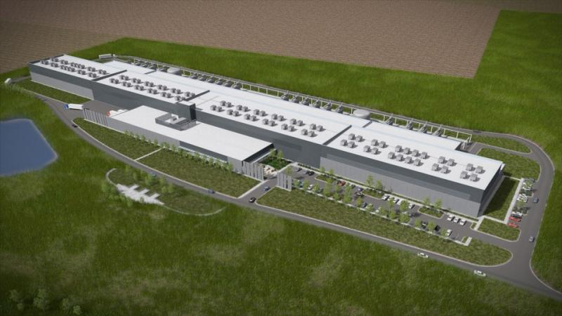A rendering of the first building of Facebook's new Altoona data center.