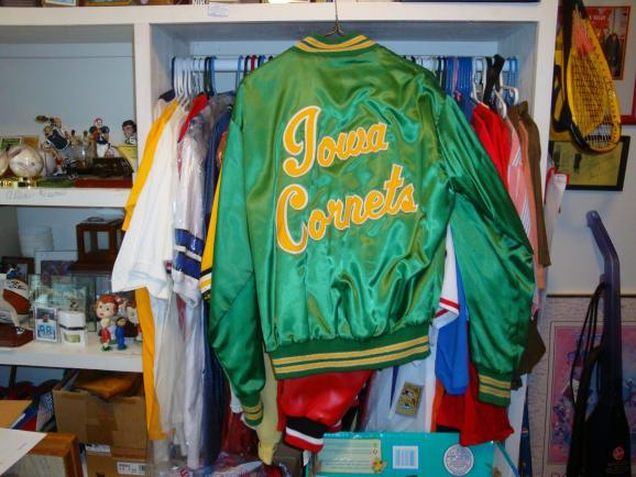 An Iowa Cornets Jacket, one of the items of memorabilia in the collection of Rich Cummins of Mitchellville.