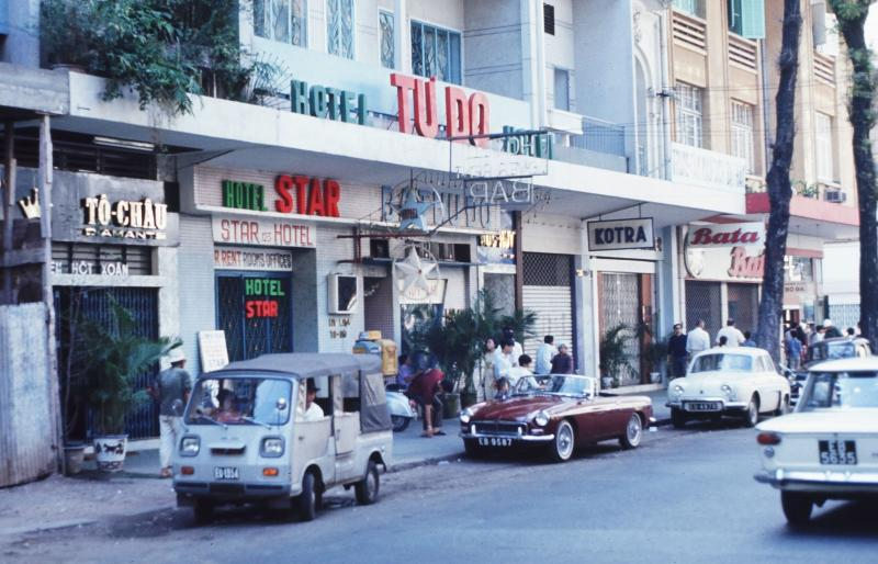 "Tu Do Street, with its bars, hotels and ""Saigon Tea."""