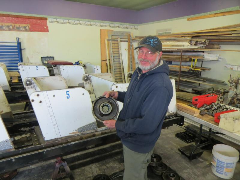 Terry Mankle refurbishes the cars annually. Each wheel weighs 30 lbs.