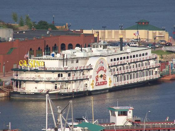 The old Diamond Jo Riverboat Casino in Dubuque, IA. The Diamond Jo moved to a land-based facility in 2008.