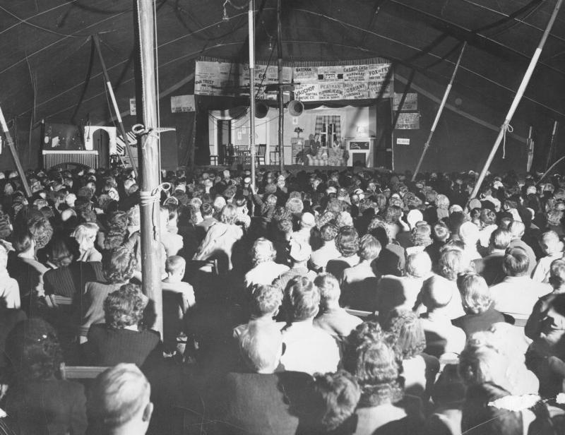 Interior of The Schaffner Players tent, 1941.