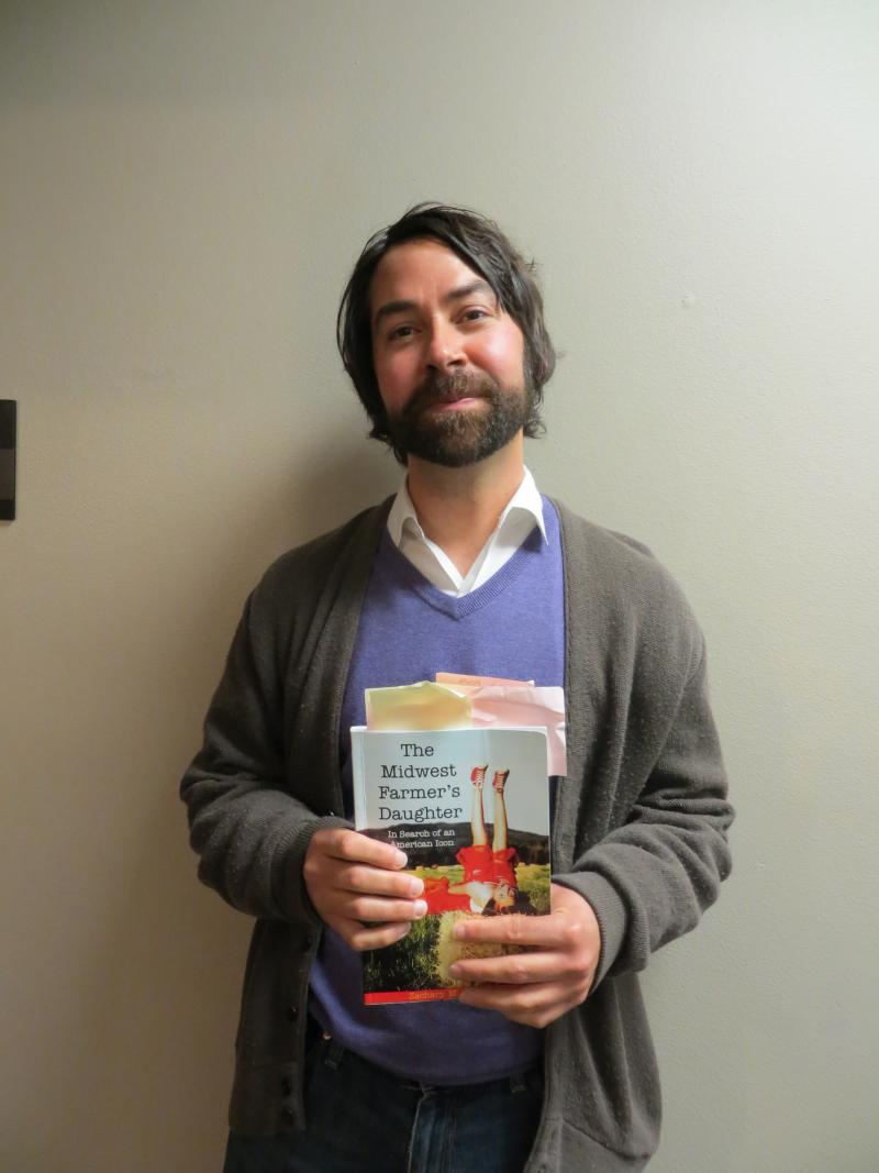 "Zachary Michael Jack with his new book ""The Midwest Farmer's Daughter"" at IPR's Iowa City studio."