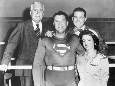 George Reeves as Superman and the cast of the TV show