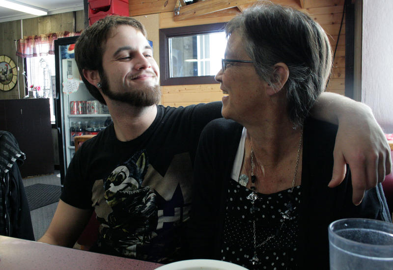 Ginger Klingenberg and her son Andy have lunch at a cafe in Armstrong. Ginger was featured in one of Clay's profiles.